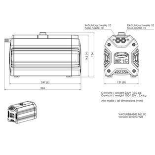 Vacuubrand ME 1C pump dimensions