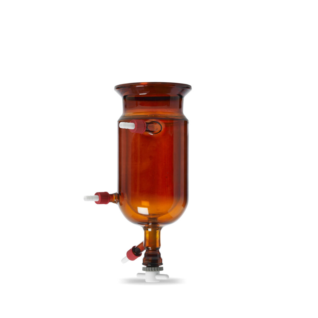 amber coated jacketed reaction vessel for UV sensitive reactions