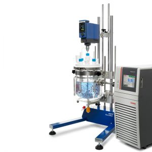 ReactoMate ATOM support with IKA overhead stirrer and Julabo chiller