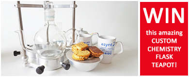 Asynt chemistry flask tea pot giveaway on LinkedIn