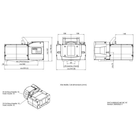 Vacuubrand ME 8C NT dimensions