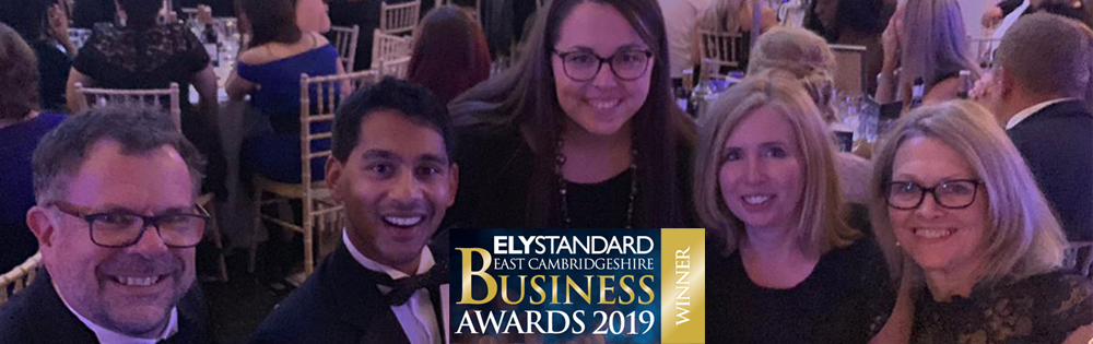 The Asynt team accept the Ely Business Award for Growth 2019