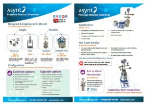 Link to an overview document of the Asynt pressure reactors range