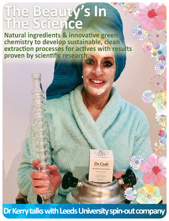 Dr Kerry Elgie with DrySyn oil-free heating block and CondenSyn waterless air condenser and the Dr. Craft face cream. Designed by Science, Manufactured from Nature