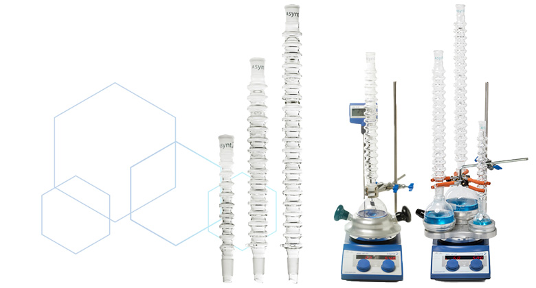 CondenSyn waterless air condensers to replace Leibig condensers for synthetic chemistry