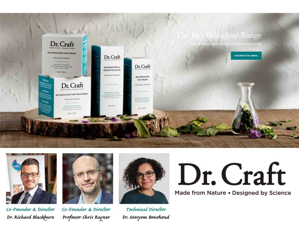 Dr. Craft sustainable chemistry techniques for beauty products. Designed by Science, Manufactured from Nature