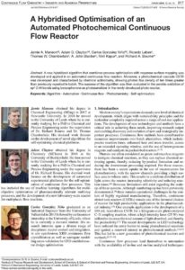 New fReactor Research Paper - A Hybridised Optimisation of an Automated Photochemical Continuous Flow Reactor