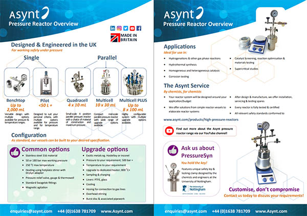 Asynt Pressure Reactors overview including the NEW Quadracell HPR